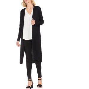 Vince Camuto Long Textured Ribbed Black Cardigan M
